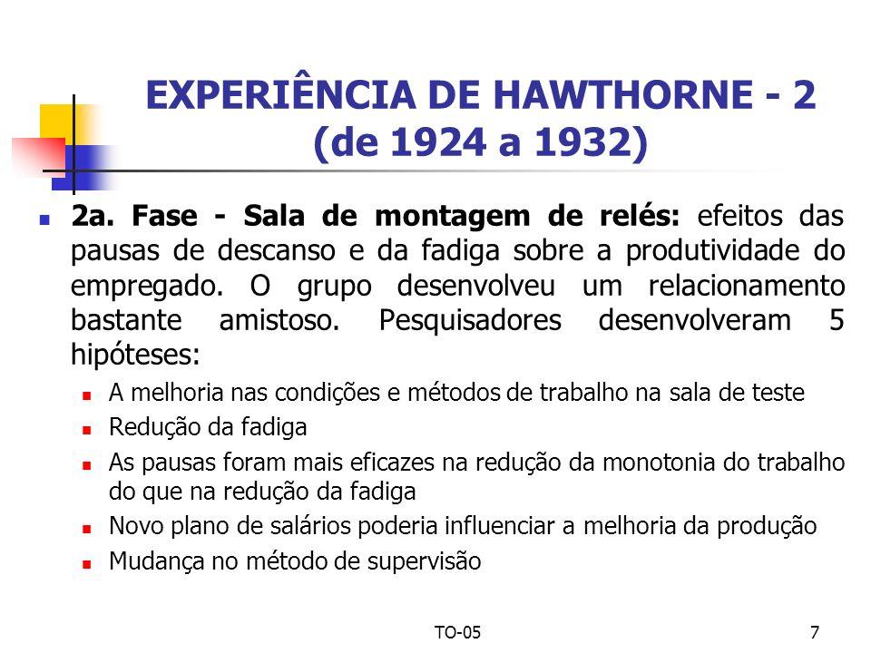 EXPERIÊNCIA DE HAWTHORNE - 2 (de 1924 a 1932)