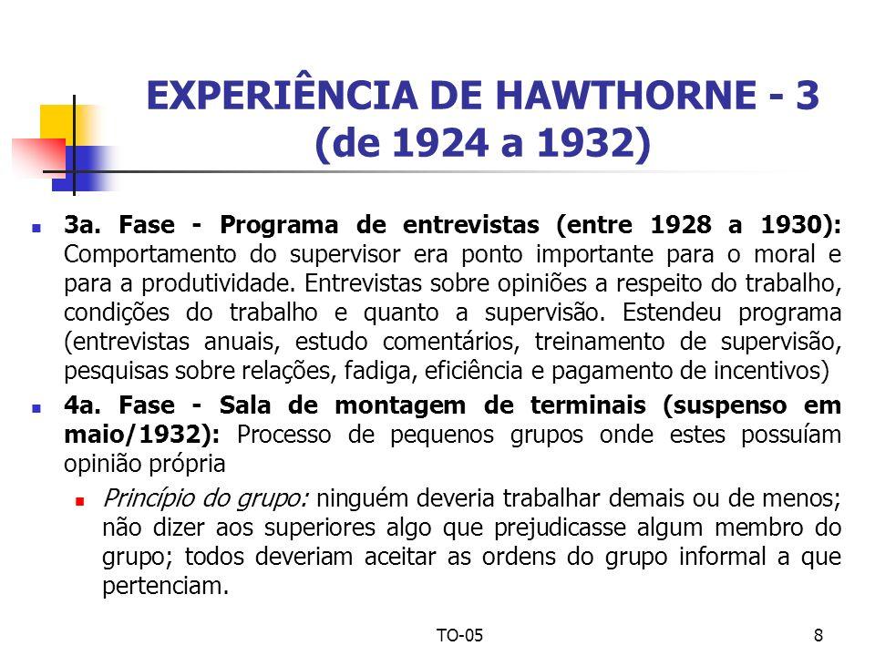 EXPERIÊNCIA DE HAWTHORNE - 3 (de 1924 a 1932)