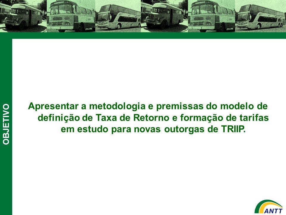 Apresentar a metodologia e premissas do modelo de definição de Taxa de Retorno e formação de tarifas em estudo para novas outorgas de TRIIP.
