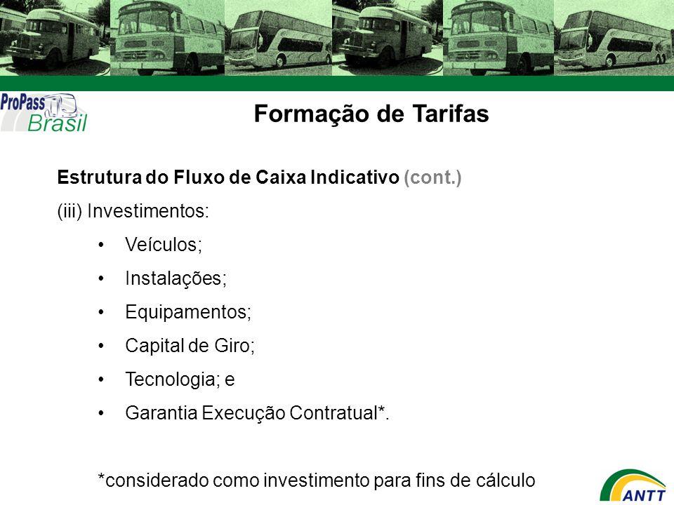 Formação de Tarifas Estrutura do Fluxo de Caixa Indicativo (cont.)