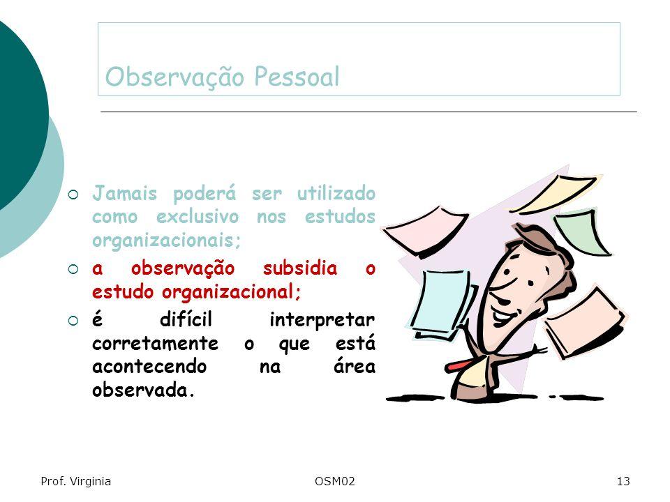 Observação Pessoal Jamais poderá ser utilizado como exclusivo nos estudos organizacionais; a observação subsidia o estudo organizacional;