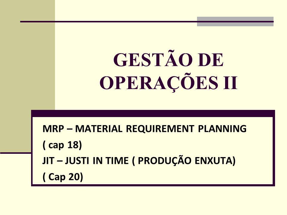 GESTÃO DE OPERAÇÕES II MRP – MATERIAL REQUIREMENT PLANNING ( cap 18)
