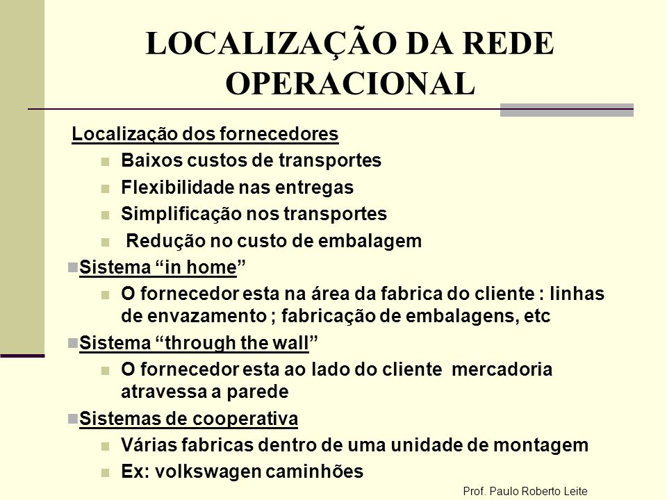 LOCALIZAÇÃO DA REDE OPERACIONAL