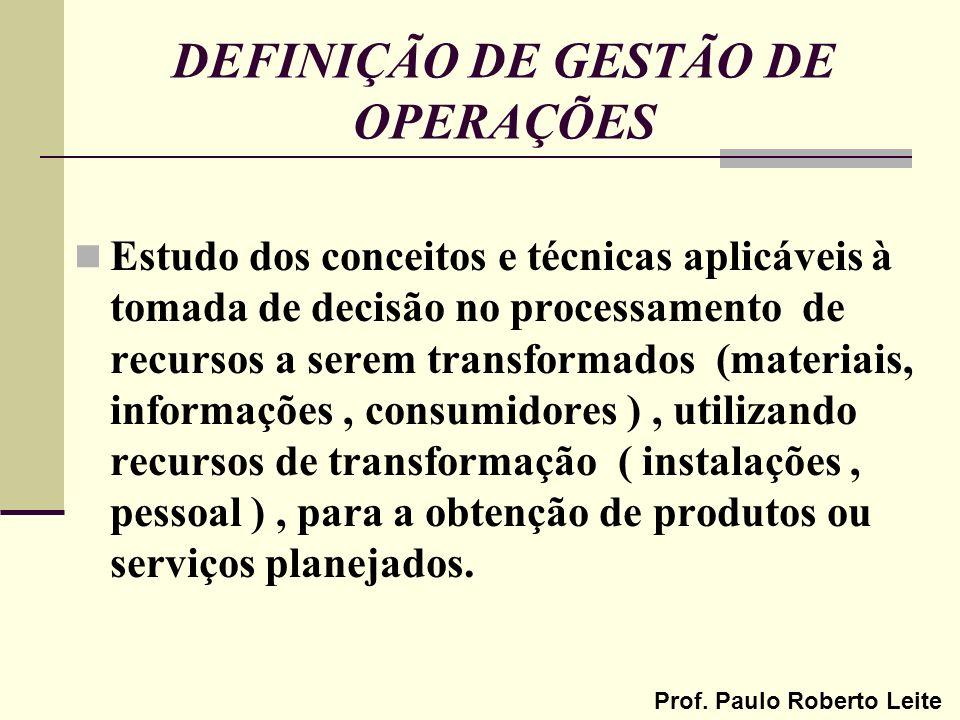 DEFINIÇÃO DE GESTÃO DE OPERAÇÕES