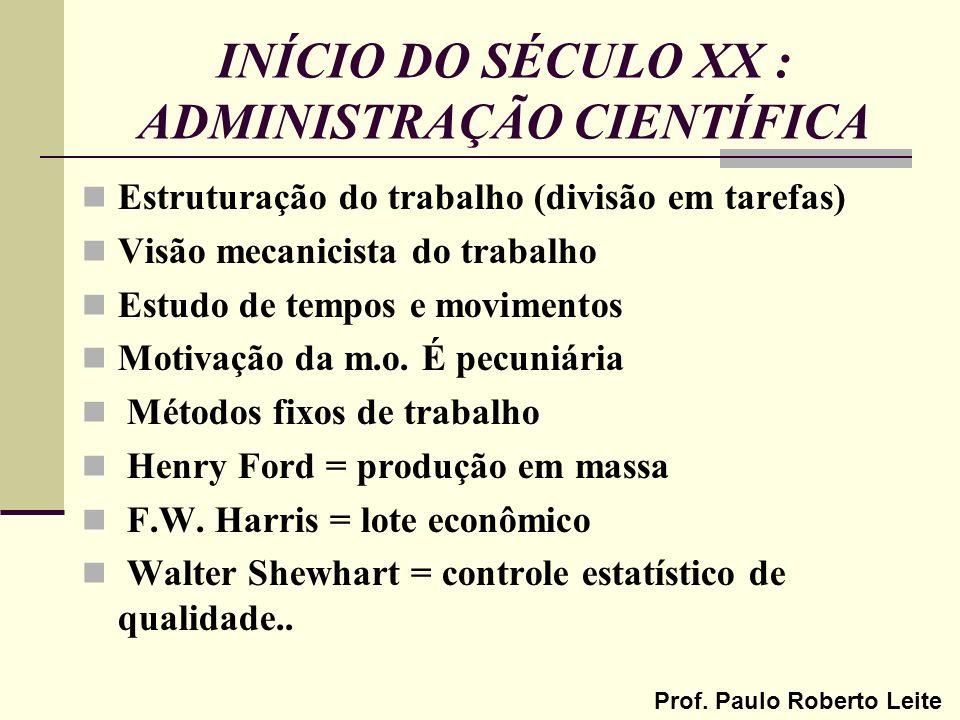 INÍCIO DO SÉCULO XX : ADMINISTRAÇÃO CIENTÍFICA