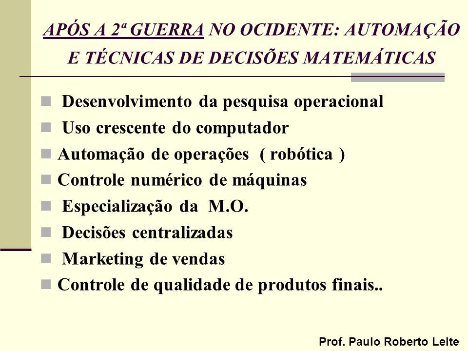 APÓS A 2ª GUERRA NO OCIDENTE: AUTOMAÇÃO E TÉCNICAS DE DECISÕES MATEMÁTICAS