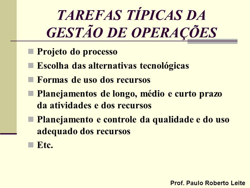 TAREFAS TÍPICAS DA GESTÃO DE OPERAÇÕES