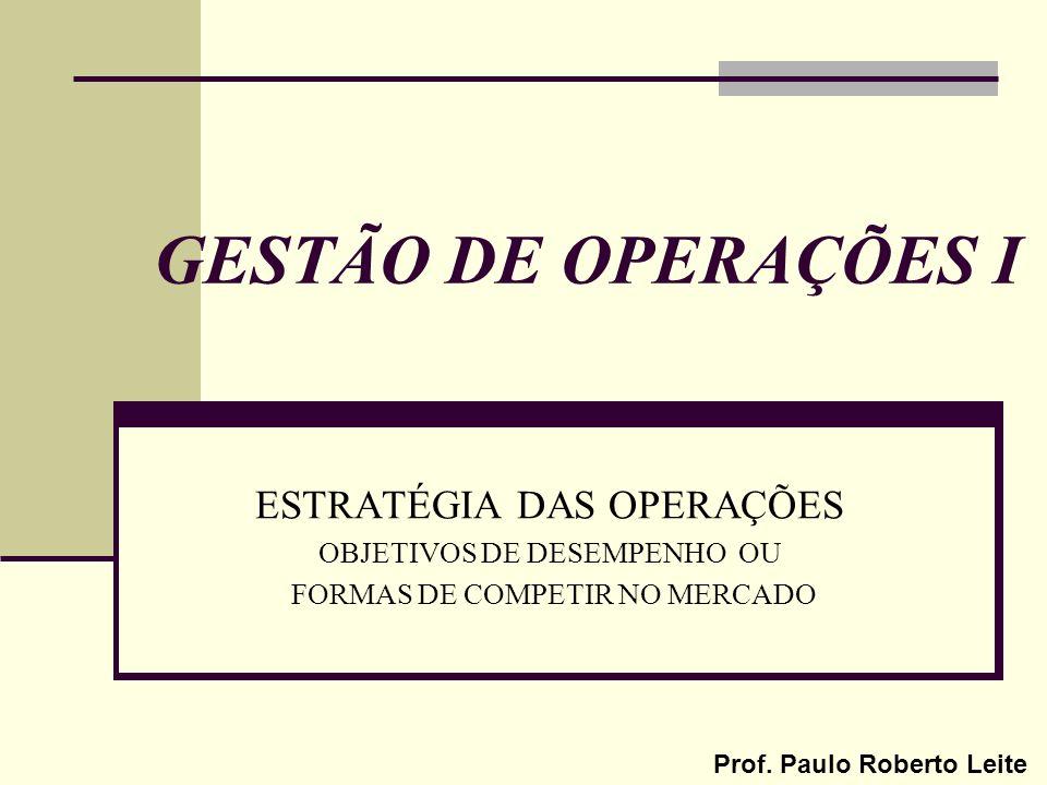 GESTÃO DE OPERAÇÕES I ESTRATÉGIA DAS OPERAÇÕES