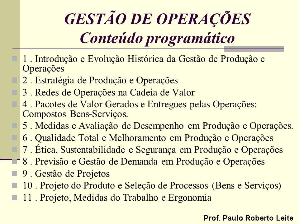 GESTÃO DE OPERAÇÕES Conteúdo programático