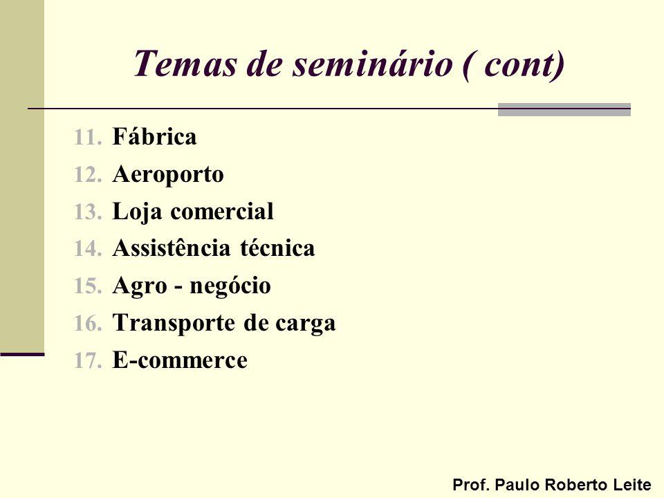 Temas de seminário ( cont)