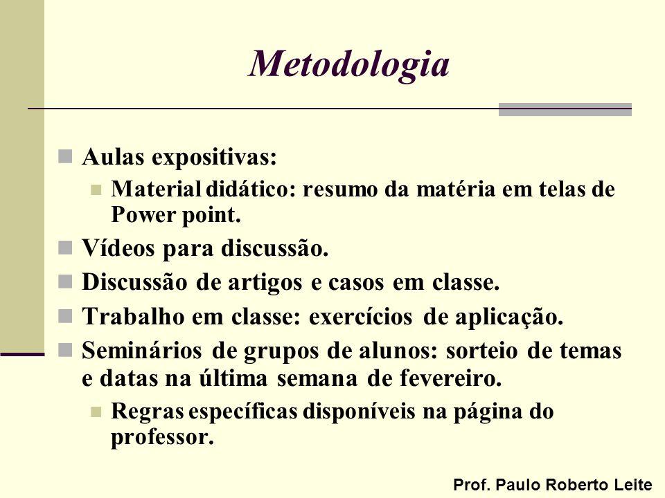 Metodologia Aulas expositivas: Vídeos para discussão.