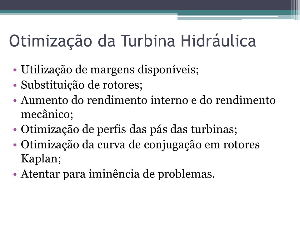 Otimização da Turbina Hidráulica