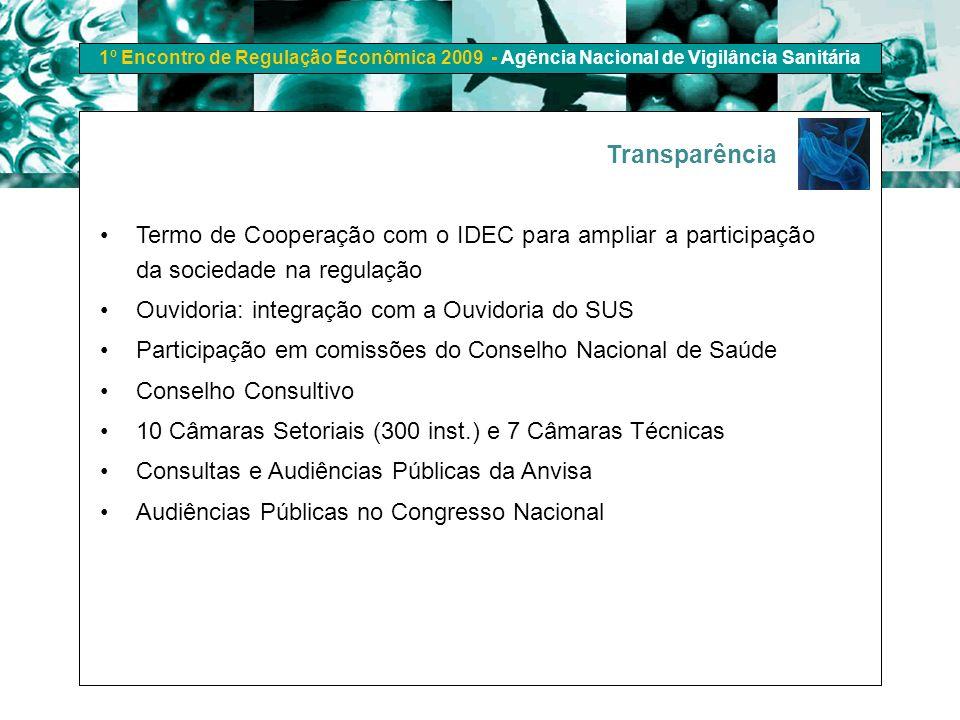 Transparência Termo de Cooperação com o IDEC para ampliar a participação da sociedade na regulação.