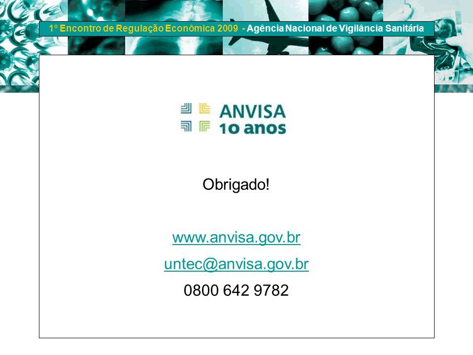 Obrigado! www.anvisa.gov.br untec@anvisa.gov.br 0800 642 9782