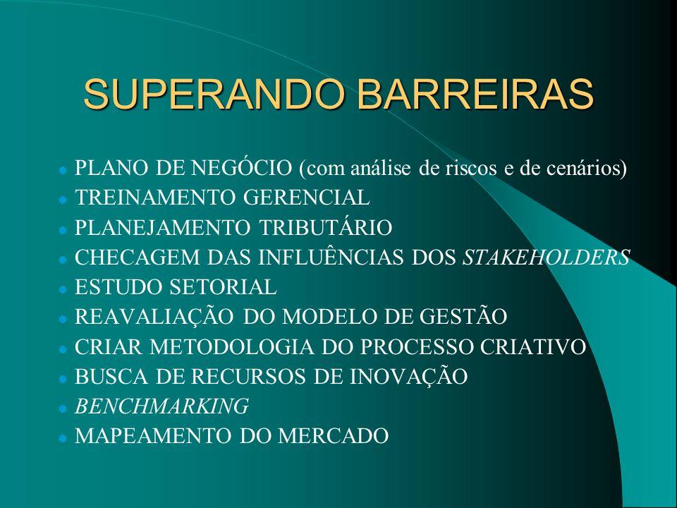 SUPERANDO BARREIRAS PLANO DE NEGÓCIO (com análise de riscos e de cenários) TREINAMENTO GERENCIAL. PLANEJAMENTO TRIBUTÁRIO.