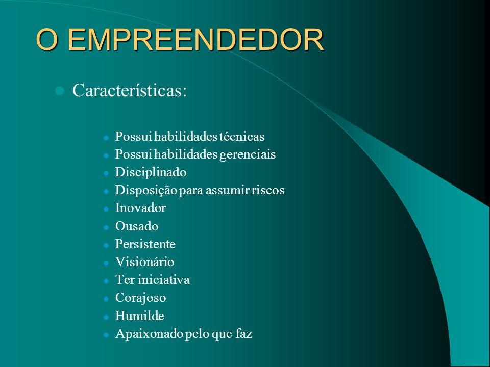 O EMPREENDEDOR Características: Possui habilidades técnicas