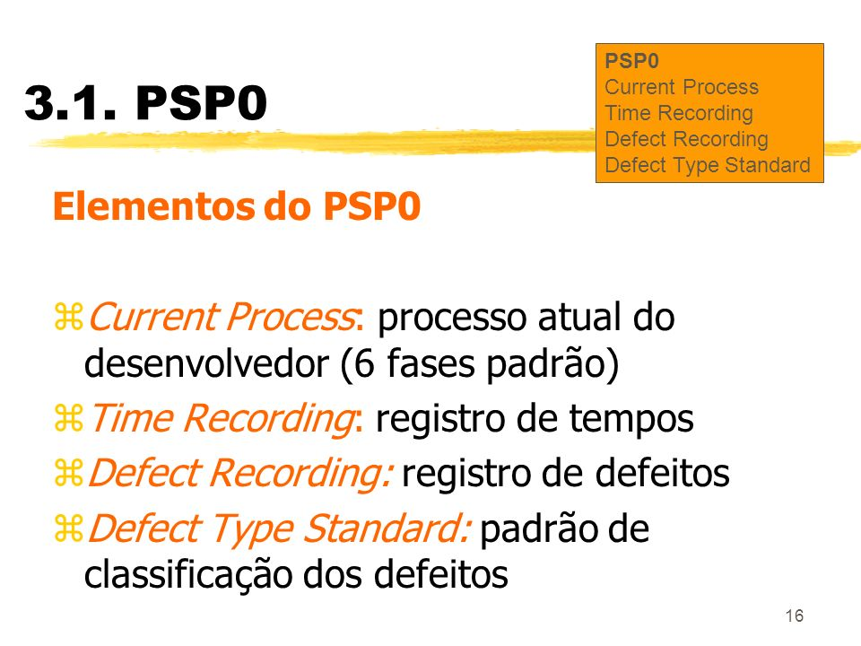 3.1. PSP0PSP0. Current Process. Time Recording. Defect Recording. Defect Type Standard. Elementos do PSP0.
