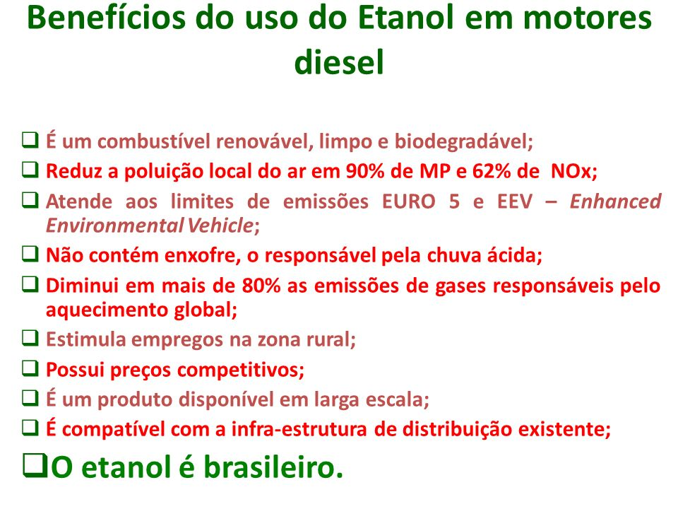 Benefícios do uso do Etanol em motores diesel