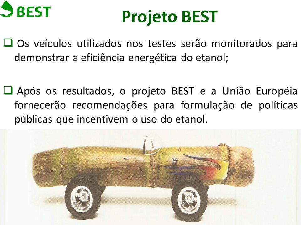 Projeto BEST Os veículos utilizados nos testes serão monitorados para demonstrar a eficiência energética do etanol;
