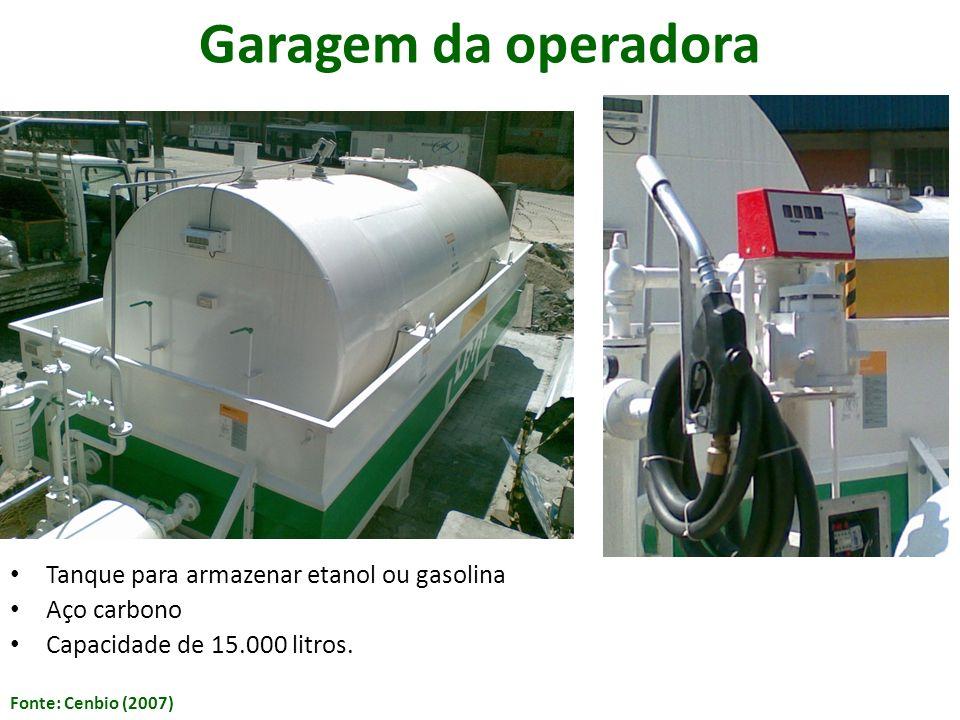 Garagem da operadora Tanque para armazenar etanol ou gasolina