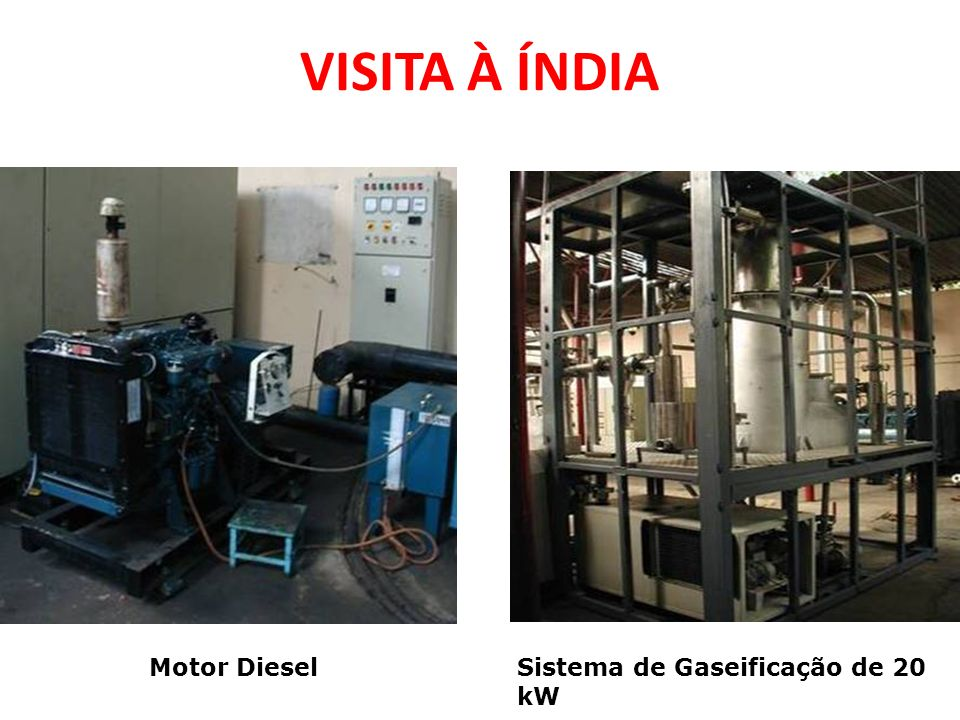 VISITA À ÍNDIA Motor Diesel Sistema de Gaseificação de 20 kW