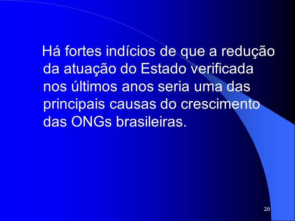 Há fortes indícios de que a redução da atuação do Estado verificada nos últimos anos seria uma das principais causas do crescimento das ONGs brasileiras.