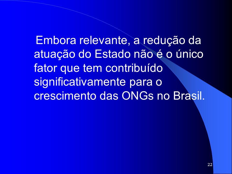 Embora relevante, a redução da atuação do Estado não é o único fator que tem contribuído significativamente para o crescimento das ONGs no Brasil.