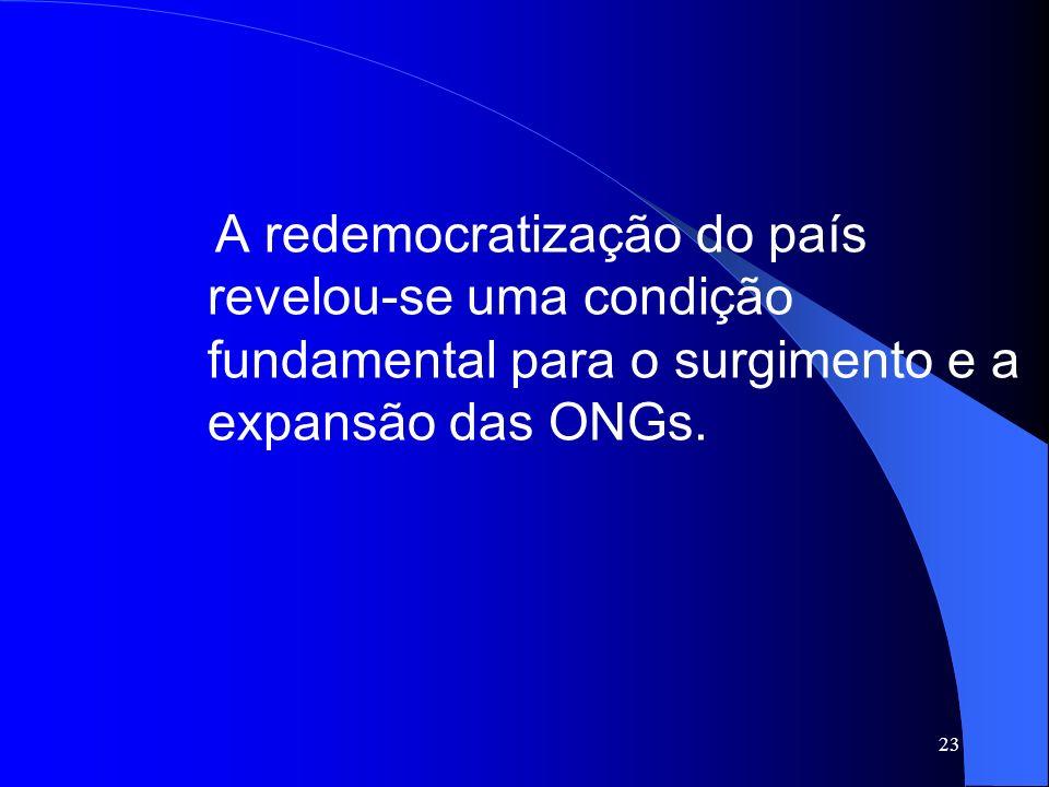 A redemocratização do país revelou-se uma condição fundamental para o surgimento e a expansão das ONGs.