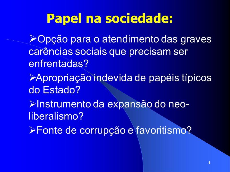 Papel na sociedade: Opção para o atendimento das graves carências sociais que precisam ser enfrentadas