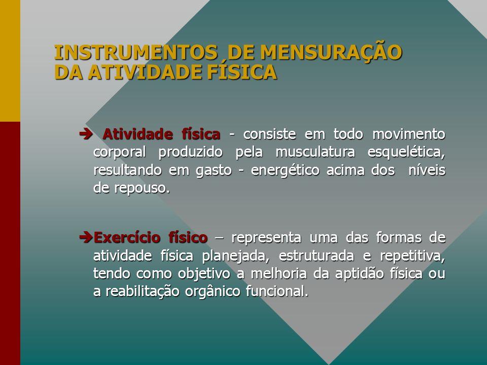 INSTRUMENTOS DE MENSURAÇÃO DA ATIVIDADE FÍSICA