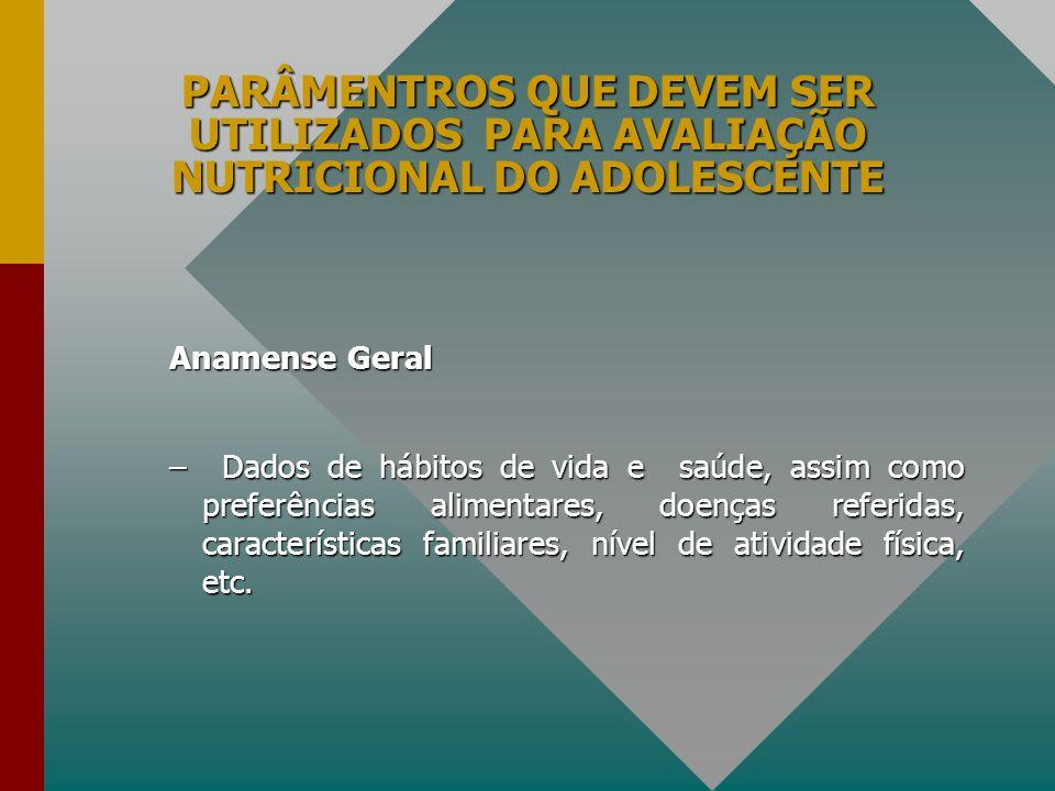PARÂMENTROS QUE DEVEM SER UTILIZADOS PARA AVALIAÇÃO NUTRICIONAL DO ADOLESCENTE