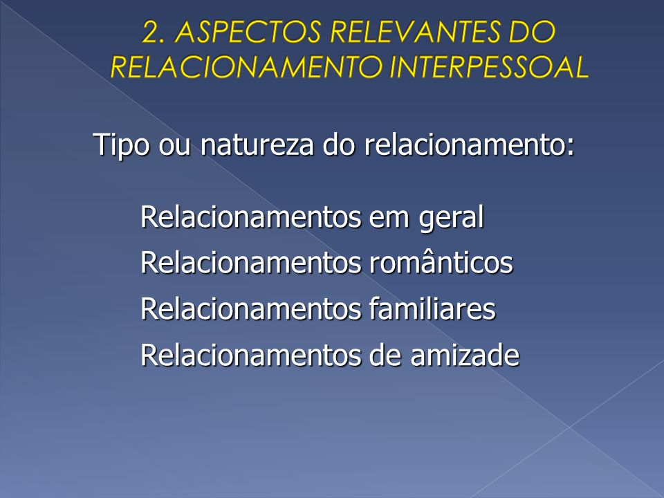 2. ASPECTOS RELEVANTES DO RELACIONAMENTO INTERPESSOAL