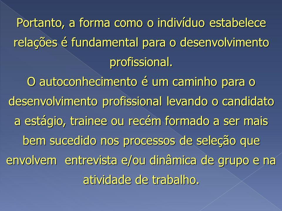 Portanto, a forma como o indivíduo estabelece relações é fundamental para o desenvolvimento profissional.