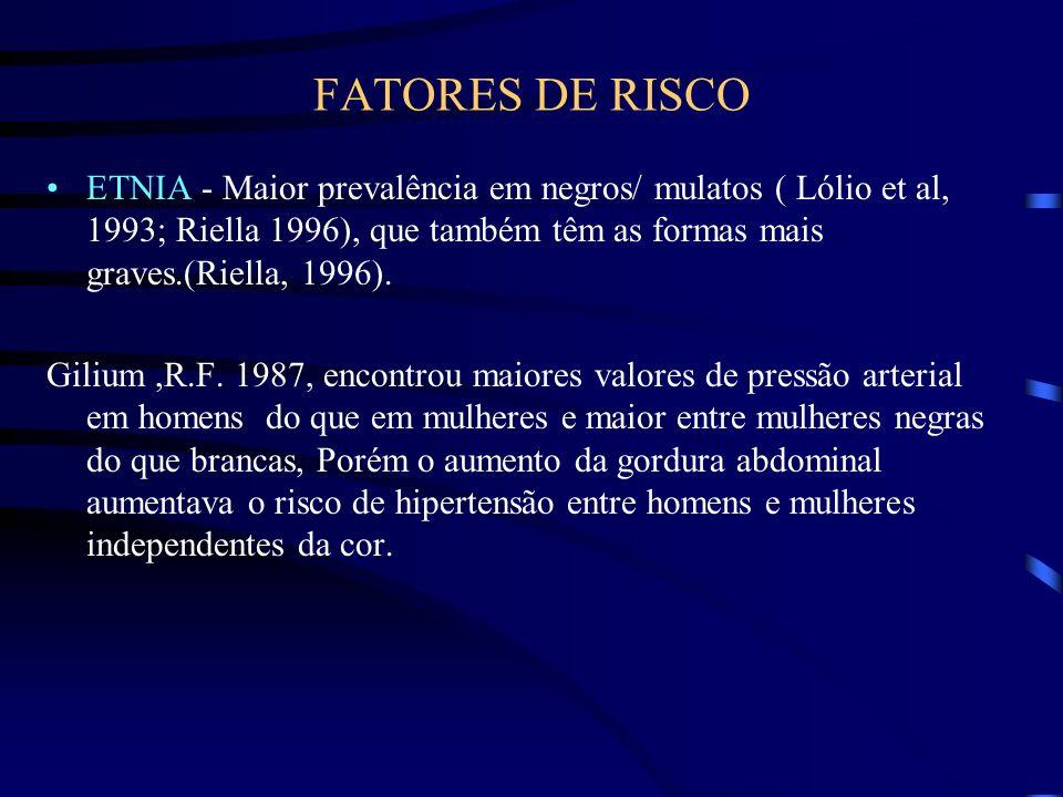 FATORES DE RISCOETNIA - Maior prevalência em negros/ mulatos ( Lólio et al, 1993; Riella 1996), que também têm as formas mais graves.(Riella, 1996).