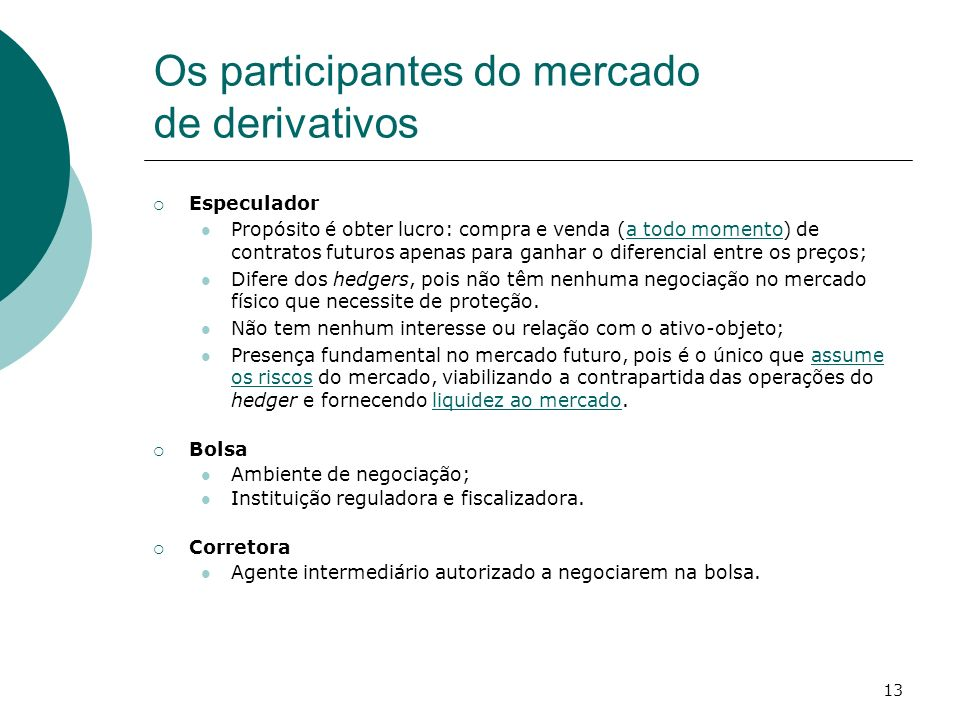 Os participantes do mercado de derivativos