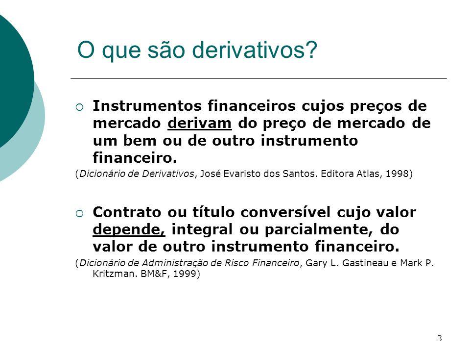 O que são derivativos Instrumentos financeiros cujos preços de mercado derivam do preço de mercado de um bem ou de outro instrumento financeiro.