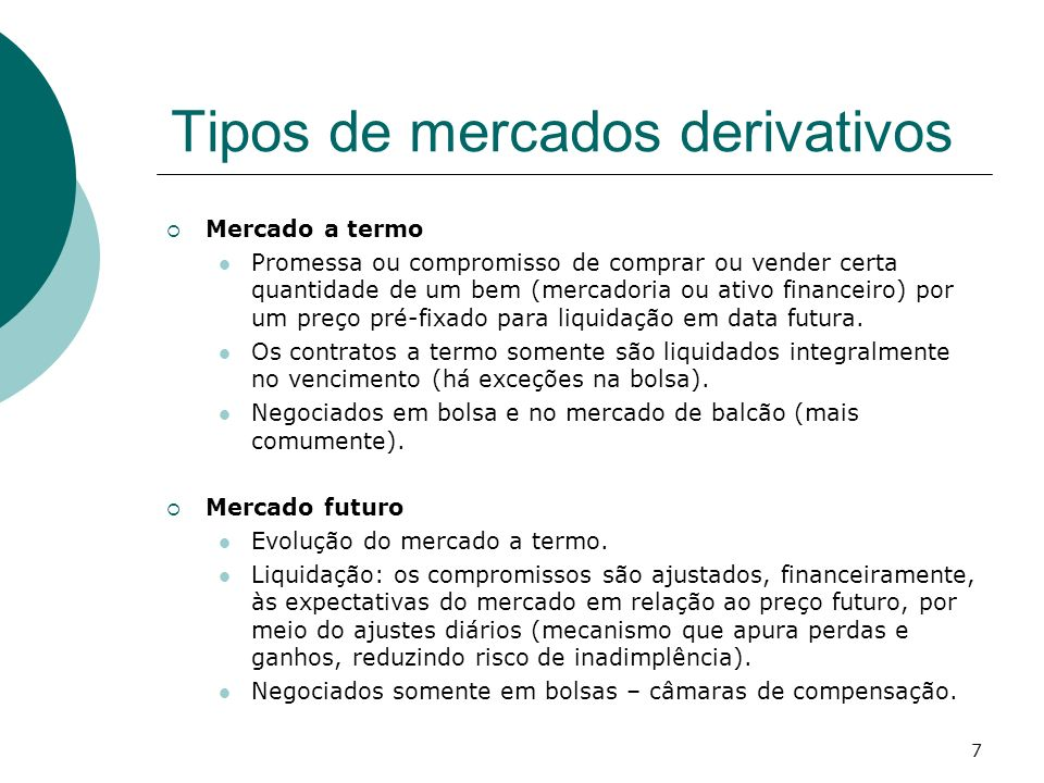 Tipos de mercados derivativos
