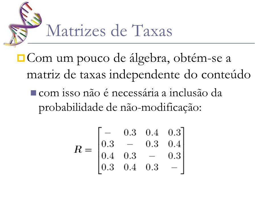 Matrizes de TaxasCom um pouco de álgebra, obtém-se a matriz de taxas independente do conteúdo.