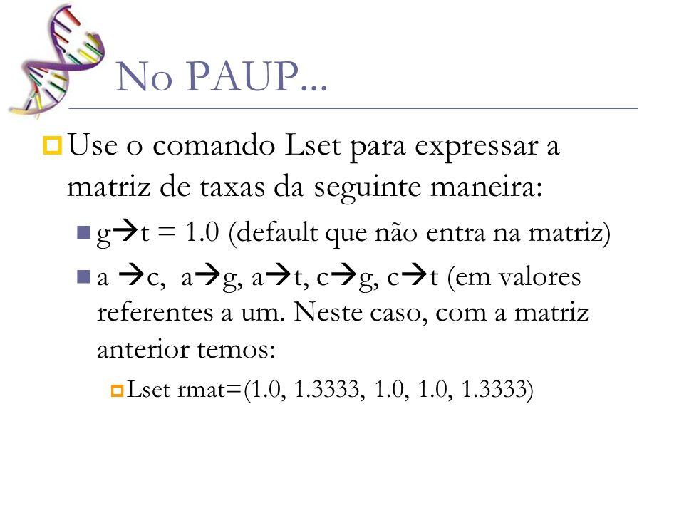 No PAUP...Use o comando Lset para expressar a matriz de taxas da seguinte maneira: gt = 1.0 (default que não entra na matriz)