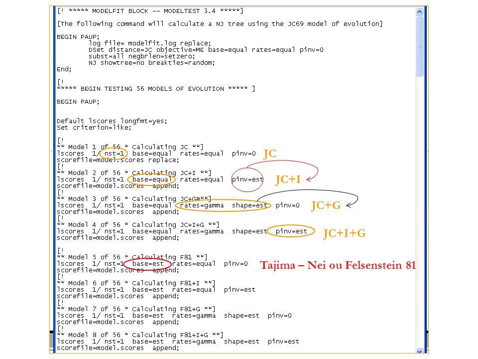JC JC+I JC+G JC+I+G Tajima – Nei ou Felsenstein 81