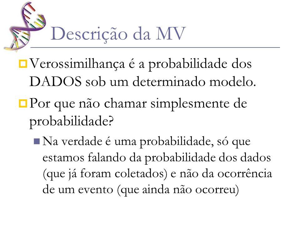 Descrição da MV Verossimilhança é a probabilidade dos DADOS sob um determinado modelo. Por que não chamar simplesmente de probabilidade
