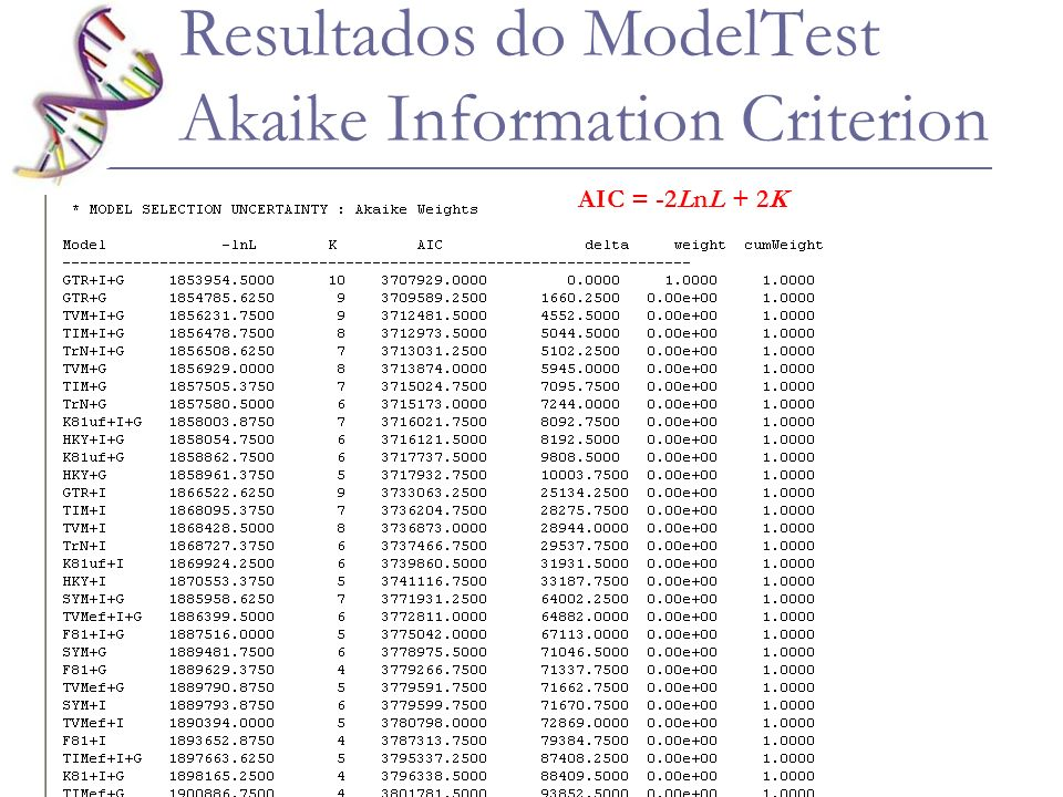 Resultados do ModelTest Akaike Information Criterion