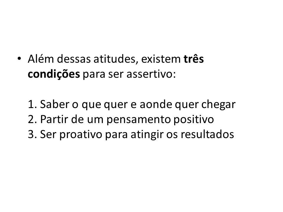 Além dessas atitudes, existem três condições para ser assertivo: 1