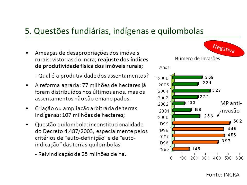 5. Questões fundiárias, indígenas e quilombolas