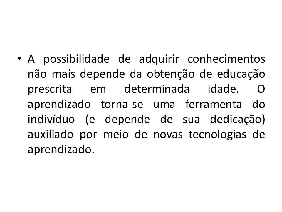 A possibilidade de adquirir conhecimentos não mais depende da obtenção de educação prescrita em determinada idade.