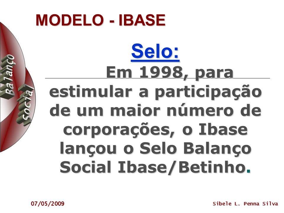 MODELO - IBASE Selo: Em 1998, para estimular a participação de um maior número de corporações, o Ibase lançou o Selo Balanço Social Ibase/Betinho.