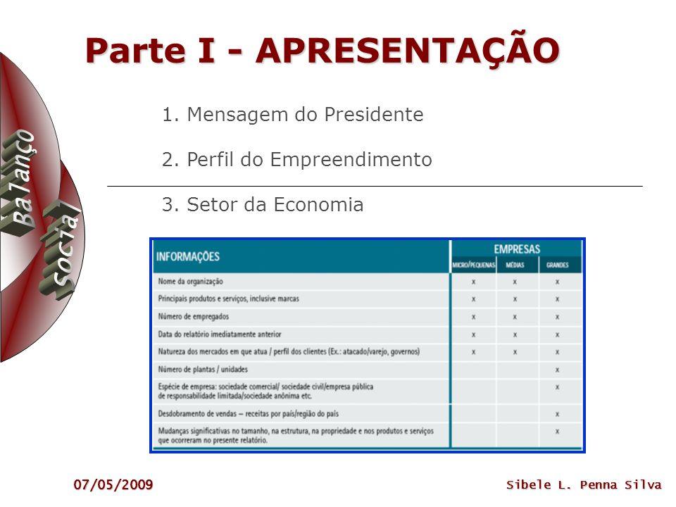 Parte I - APRESENTAÇÃO1. Mensagem do Presidente 2. Perfil do Empreendimento 3. Setor da Economia.