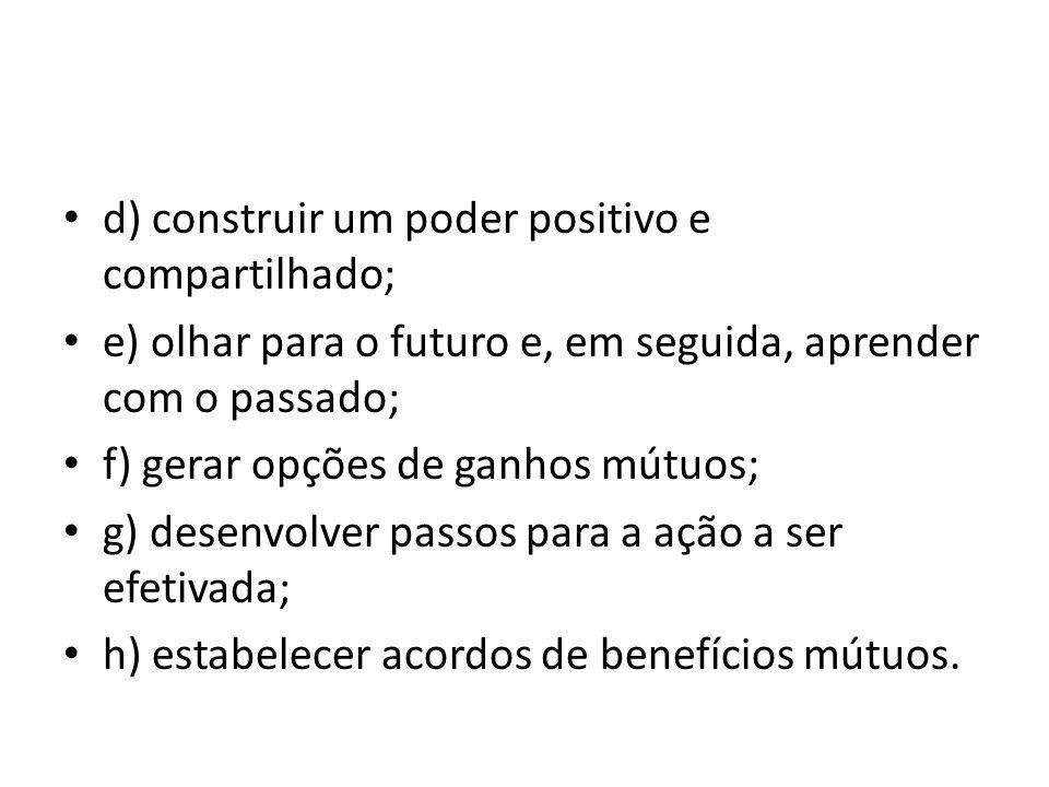 d) construir um poder positivo e compartilhado;