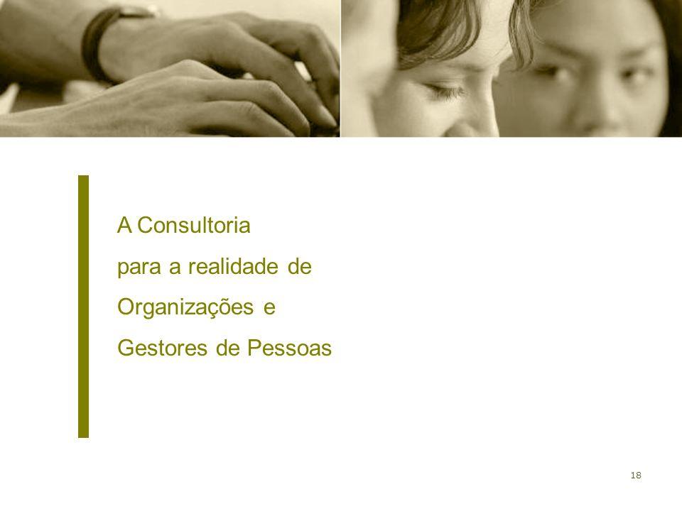A Consultoria para a realidade de Organizações e Gestores de Pessoas