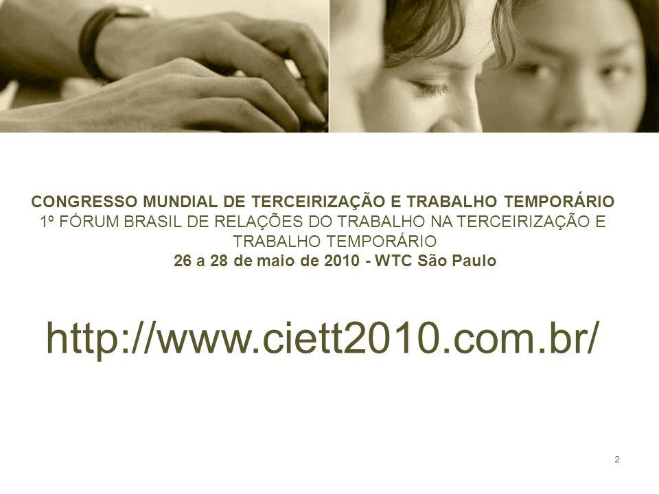 CONGRESSO MUNDIAL DE TERCEIRIZAÇÃO E TRABALHO TEMPORÁRIO